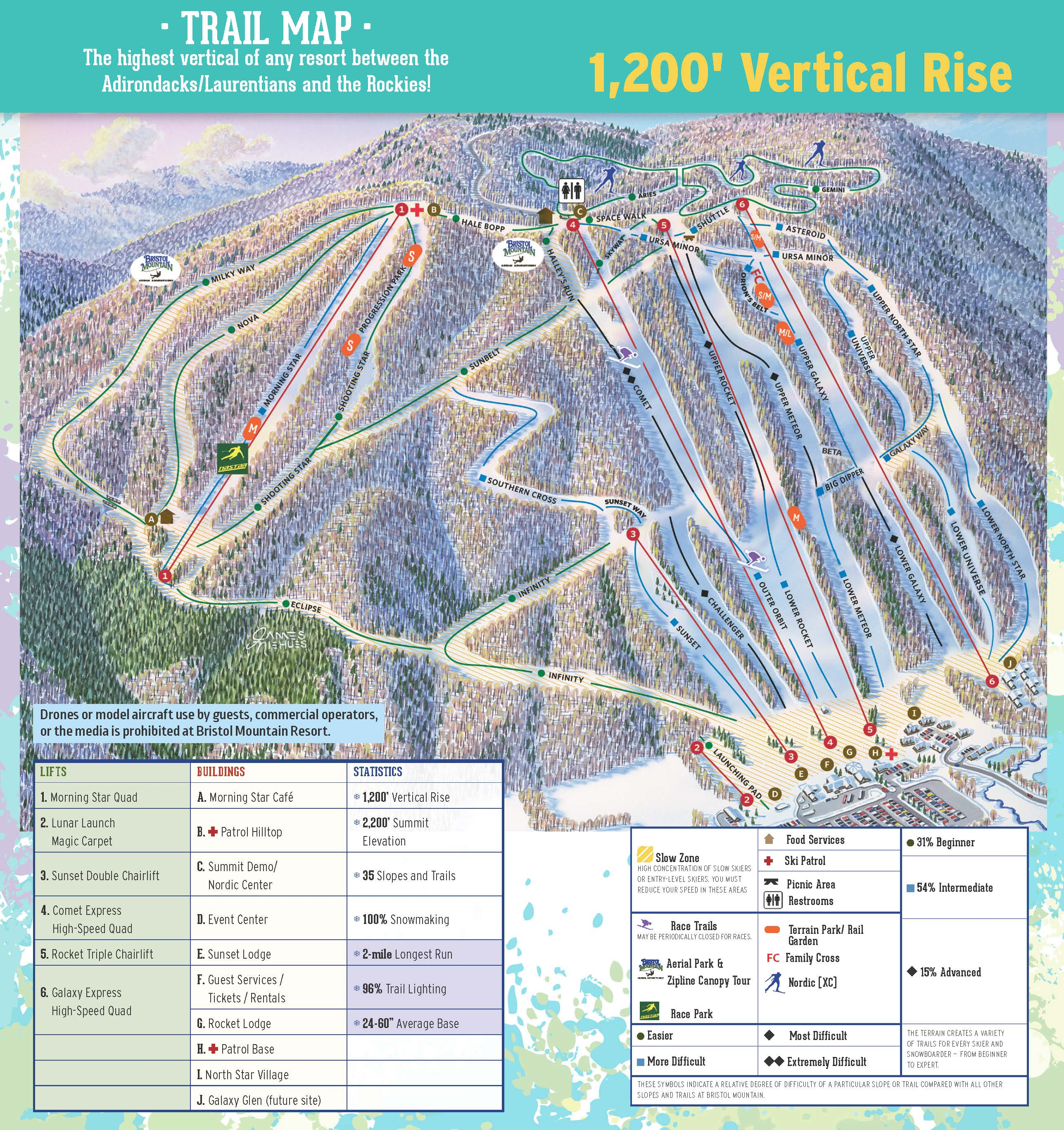 Trail Map Bristol Mountain Resort - New york map mountains