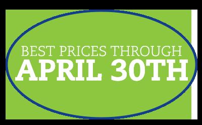Best Prices through April 30th