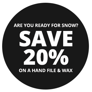 Are you ready for snow? Save 20% on a hand file & wax.