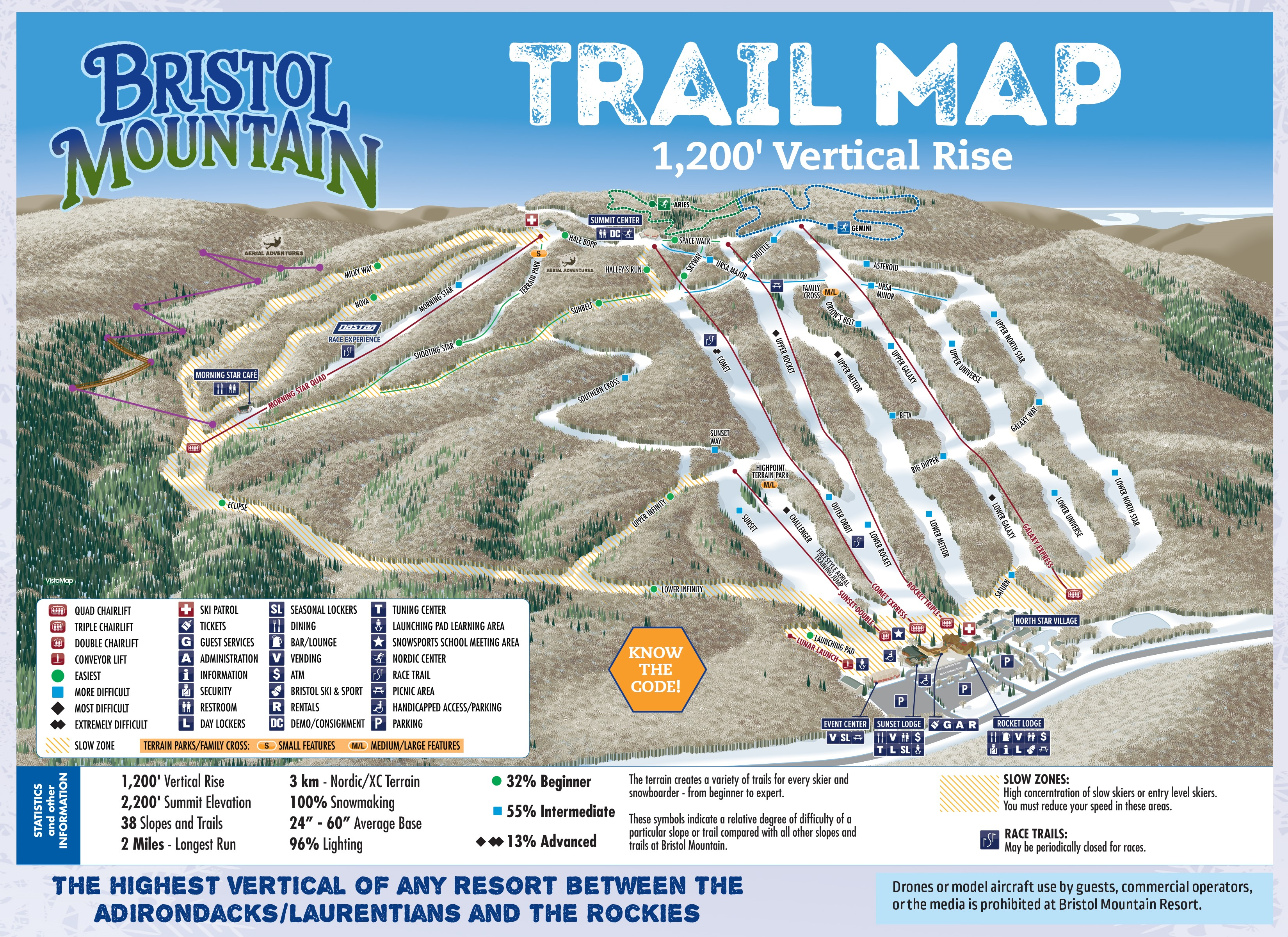 Bristol Mountain Trail Map 2018-19 - Please Call (585) 374-6000 for a verbal description of our trail offerings.